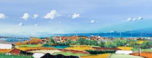 """Nyt maleri af Steen Karlsen over Knud Størups udsigt fra sit hus i Hirtshals. Musikken i videoen er lavet af Ib Grønbech. Maleriet er også blevet lavet i tryk på lærred Navn """"Mit Hirtshals"""" Str: 120x40 cm. Pris: 5000,-"""
